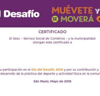 Certificado de Participacion – Voluntários 2018